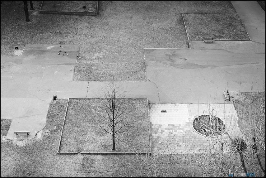 betonowe blokowisko na czarnobiałej fotografii (1)