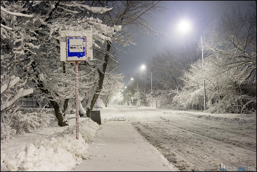 przystanek autobusowy linie 203 przysypany śniegiem
